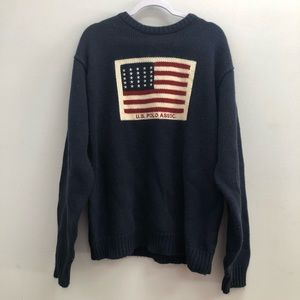 US Polo Assn Patriotic Flag Navy Blue Sweater